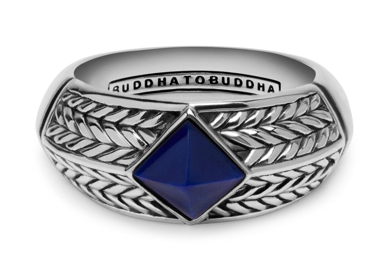 Buddha to Buddha 006BU Ring Ellen Stone Blue zilver blauw Maat 19