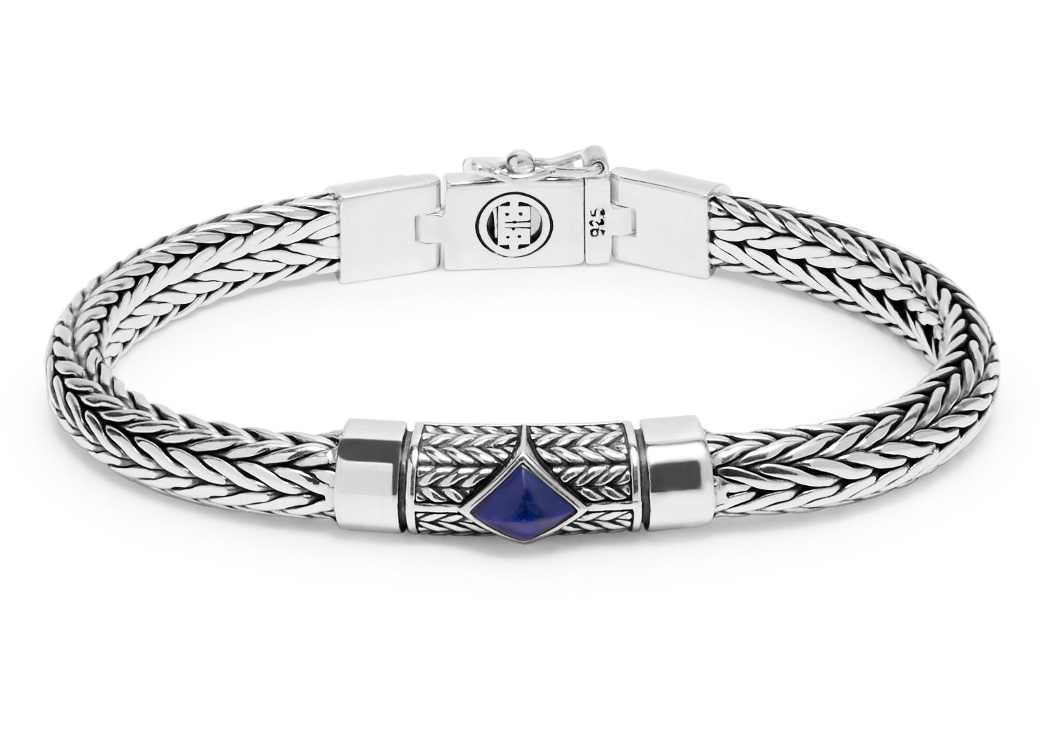 Buddha to Buddha J005BU Armband zilver Ellen XS Stone Blue (C+) 17 cm