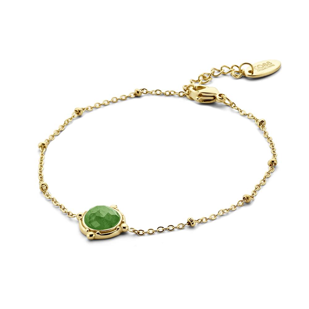 CO88 Collection Divine 8CB 90661 Stalen armband - Groene natuursteen - 16,5 + 3 CM - goudkleurig