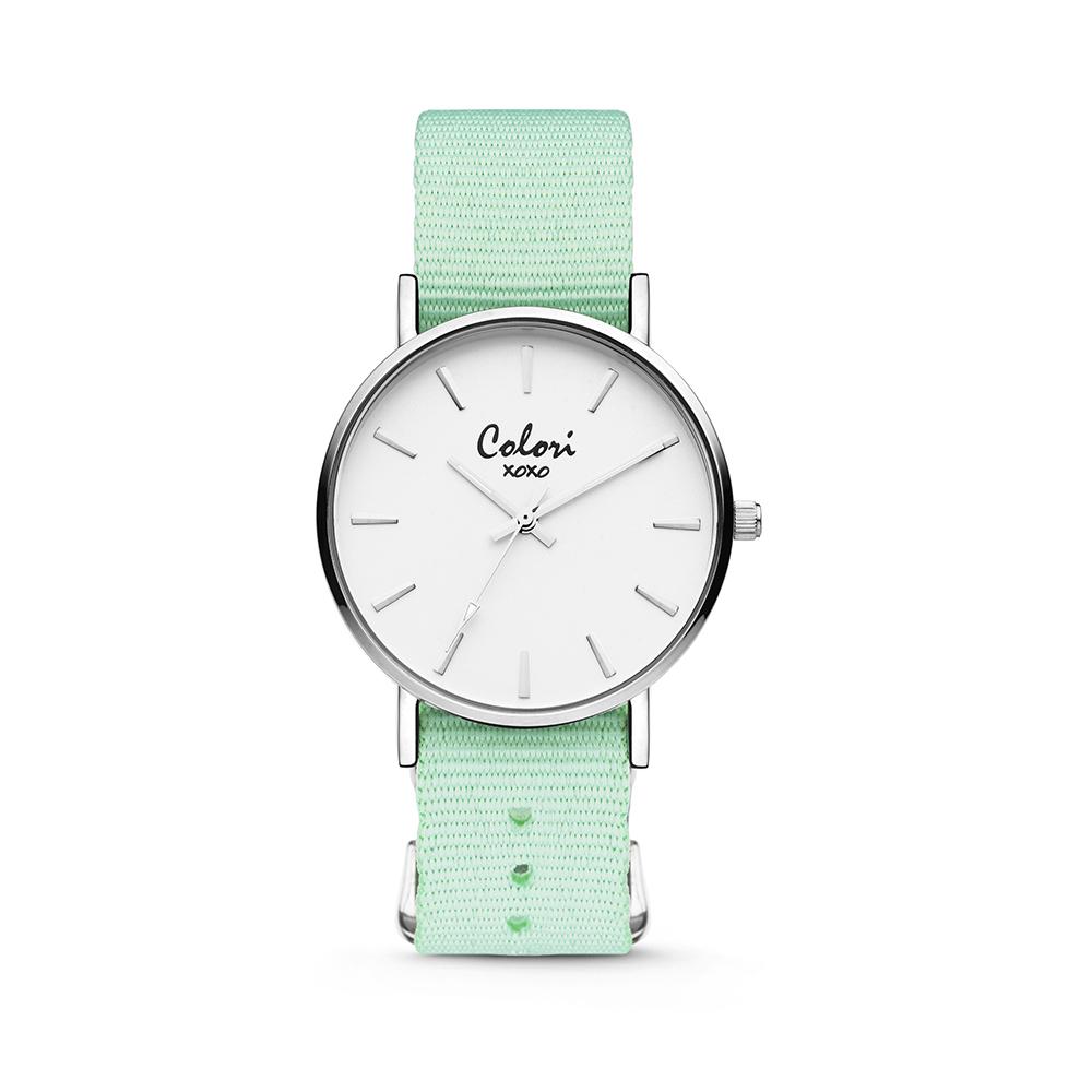 Colori XOXO 5 COL547 Horloge geschenkset met Armband - Nato Band - Ø 36 mm - Mint Groen - Zilverkle