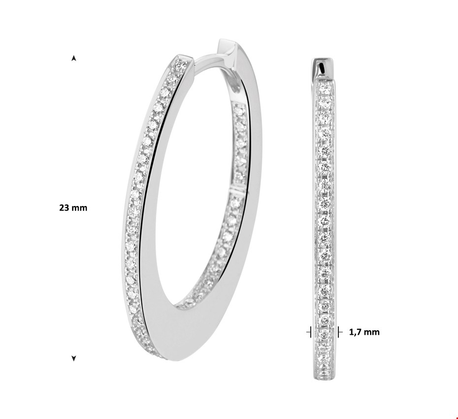 TFT Klapcreolen Diamant 0.28ct (2x0.14ct) H SI Witgoud Glanzend