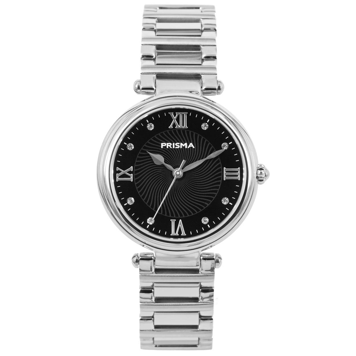 Prisma P.1451 horloge met Zwitsers Uurwerk staal zilverkleurig-zwart 34 mm