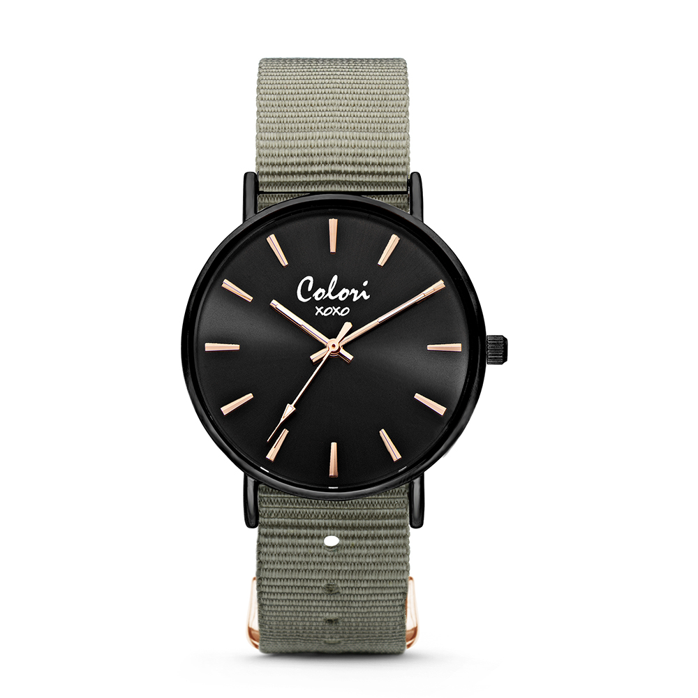 Colori XOXO 5 COL572 Horloge - Nato Band - Ø 36 mm - Leger Groen - Zwart