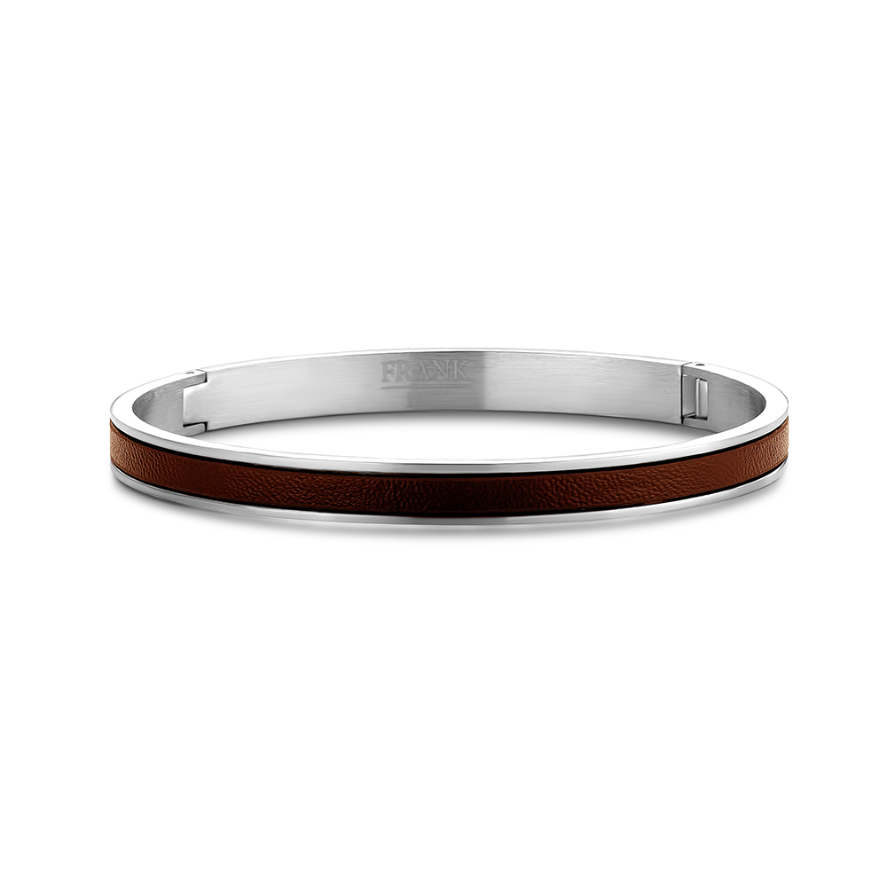 Frank 1967 Steel 7FB 0342 Stalen bangle met leer Dikte 7 mm Bruin
