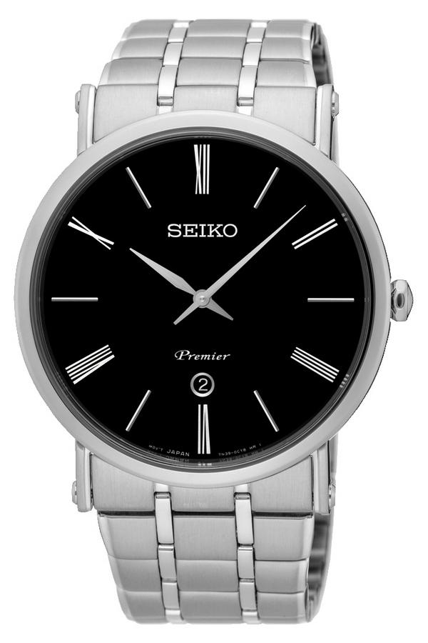 Seiko Herenhorloge 'Premier' zwarte wijzerplaat SKP393P1