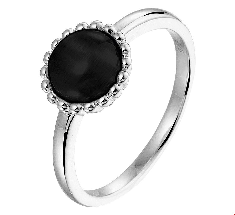 TFT Ring Onyx Zilver Gerhodineerd