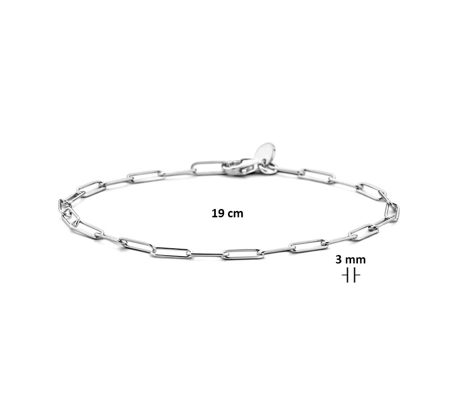 TFT Armband Zilver Paperclip 3,0 mm 19 cm