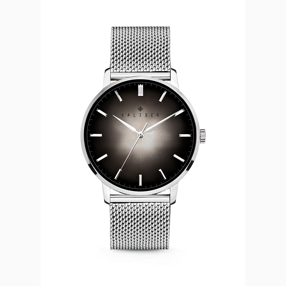 Kaliber 7KW 0007 Horloge met Meshband Ø40 mm zilverkleurig-zwart