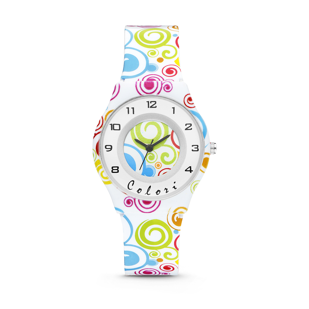 Colori Funtime 5 CLK101 Kinderhorloge met Cirkels - Siliconen Band - Ø 34 mm - Wit - Multikleur