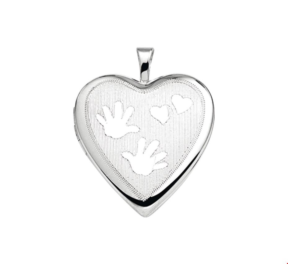 TFT Medaillon Hart Gravure Zilver Gerhodineerd 21,0 mm x 19,5 mm