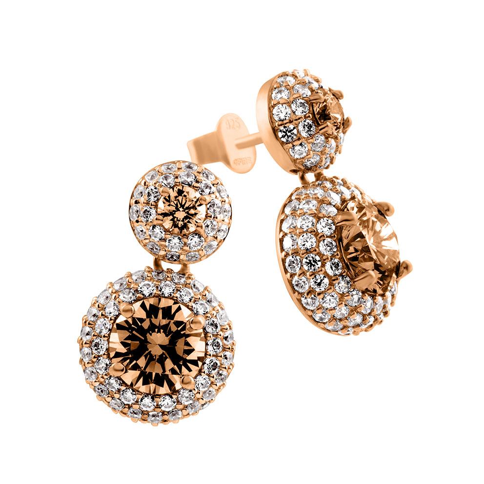 Zilveren Oorhangers Fancy Colors Zirkonia Bruin Ros-goud verguld 808.0336.00