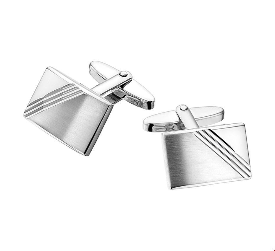 TFT Manchetknopen Poli/mat Gediamanteerd Zilver Gerhodineerd 12,5 mm x 18,5 mm
