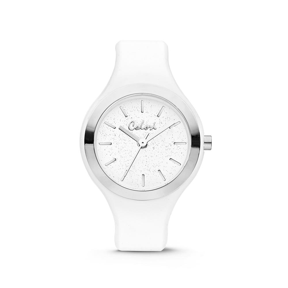 Colori Macaron 5 COL574 Horloge - Siliconen Band - Ø 30 mm - Wit - Zilverkleurig