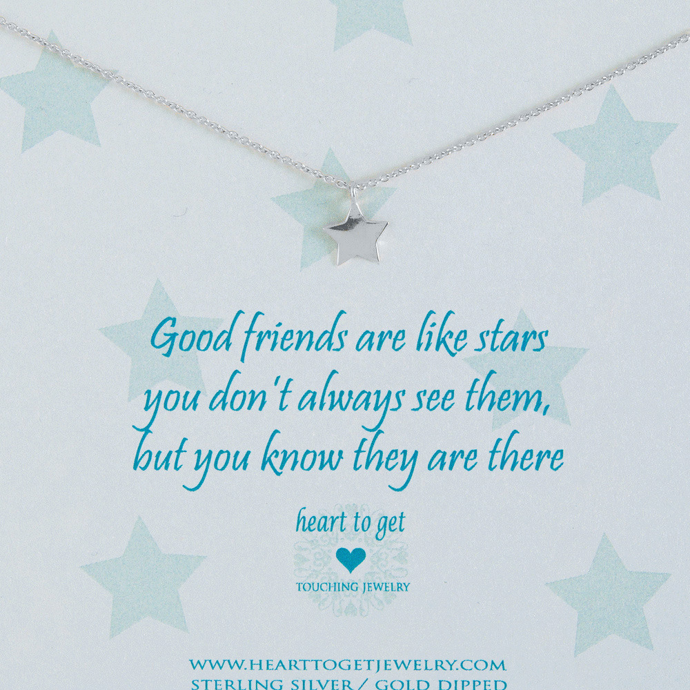 Heart to get N09STA11S Ketting Star Good friends are like..... zilver