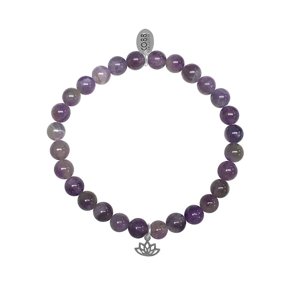 CO88 Armband Lotus Peace en Stability staal-amethist-paars, rek-all-size 8CB-17041