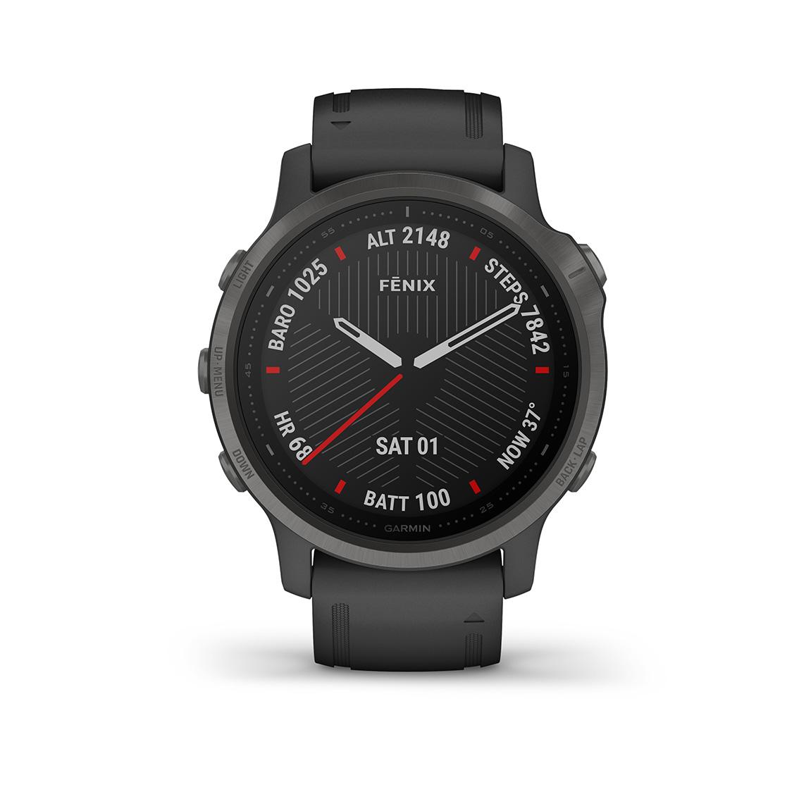 Garmin 010-02159-25 Fenix 6S Multisport GPS Smartwatch, Pulse Ox, carbon en saffierglas