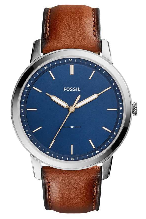 Fossil Horloge FS5304 The Minimalist staal leder blauw cognac