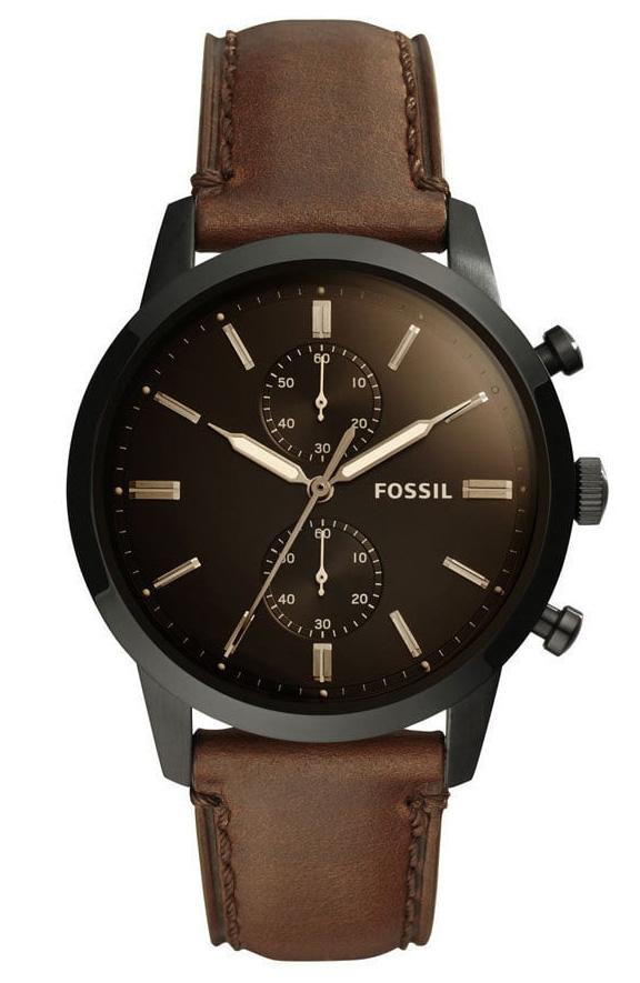 Fossil Herenhorloge Townsman Chronograaf zwart bruin 44 mm FS5437