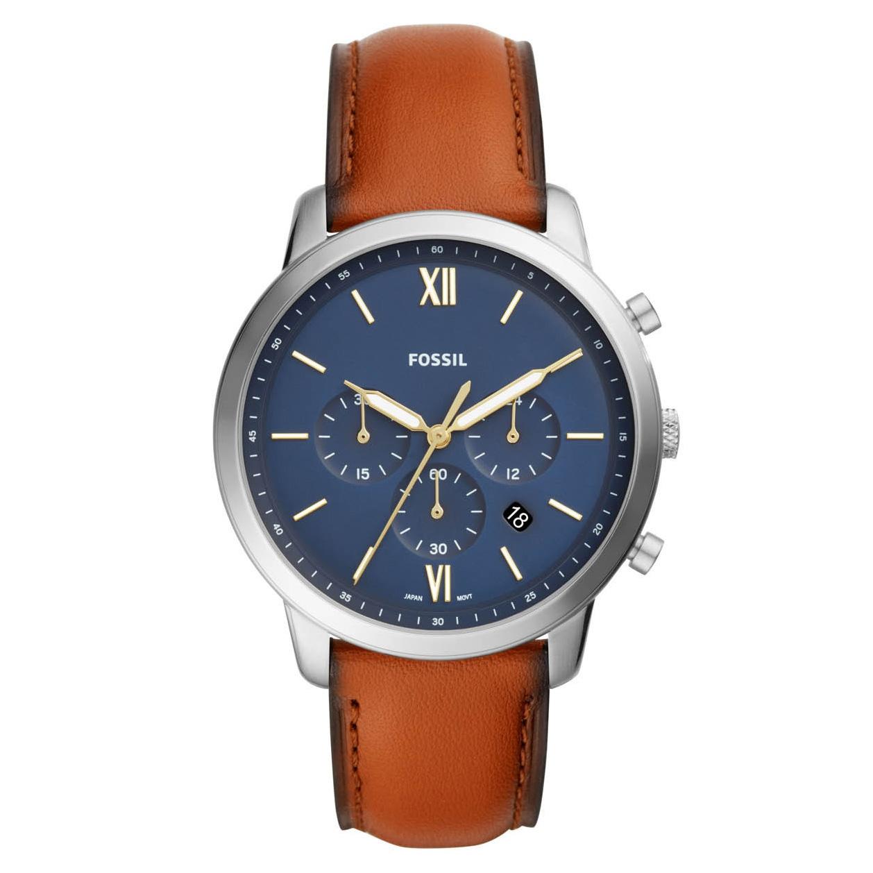Fossil FS5453 Horloge Neutra Chrono zilverkleurig cognac 44 mm