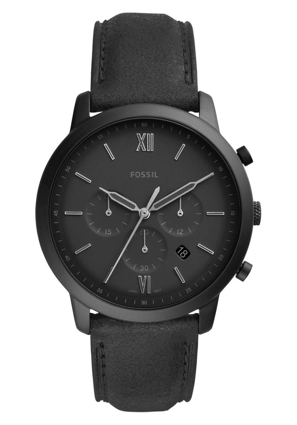 Fossil FS5503 Horloge Neutra Chrono staal leder 40 mm