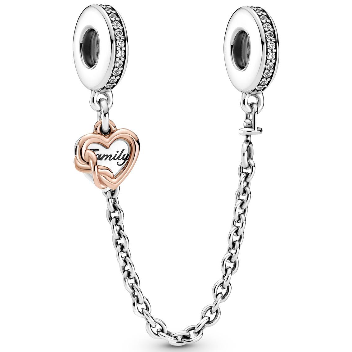 Pandora Rose 789541C01-05 Veiligheidsketting Family Heart zilver-zirconia zilver-en rosekleurig
