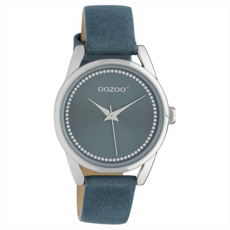 OOZOO JR307 Horloge Junior staal leder blue 32 mm