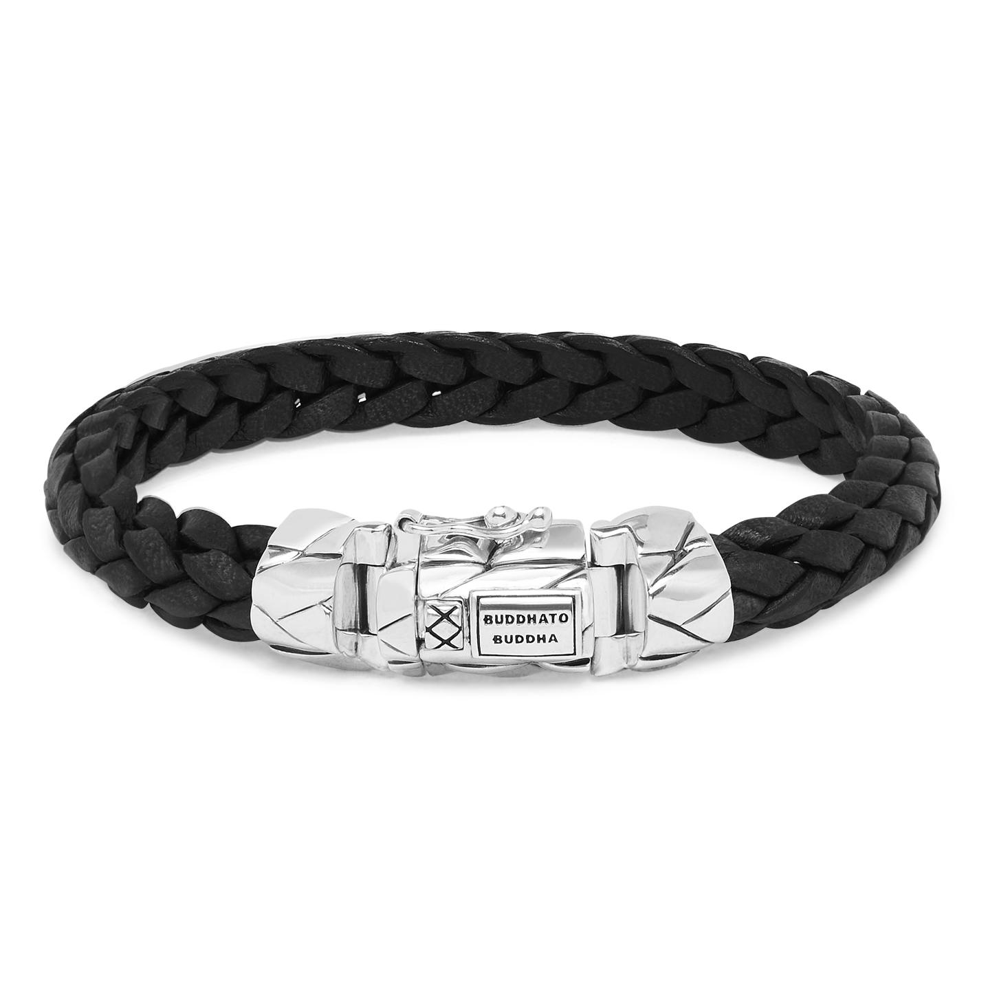 Buddha to Buddha 126BL Armband Mangky Small leder zwart (E) 19 cm