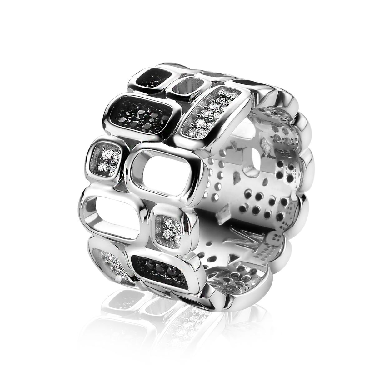 Zinzi by Mart Visser MVR3Z Ring zilver met zirconia zwart wit Maat 56
