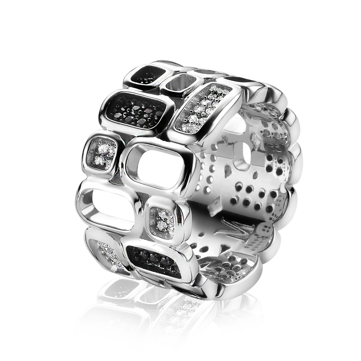 Zinzi by Mart Visser MVR3Z Ring zilver met zirconia zwart wit Maat 54