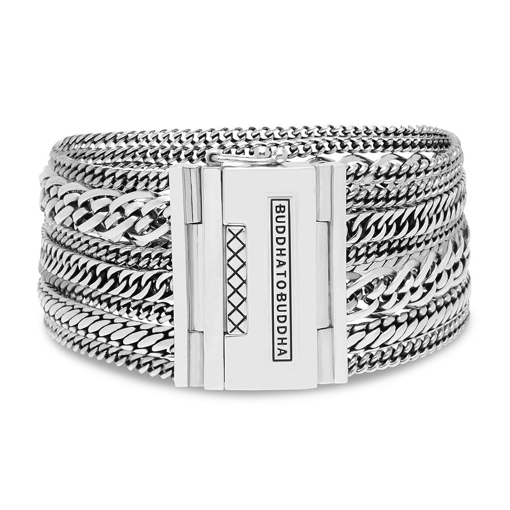 Buddha to Buddha 124 Armband Nathalie Multi Chain zilver (E) 19 cm