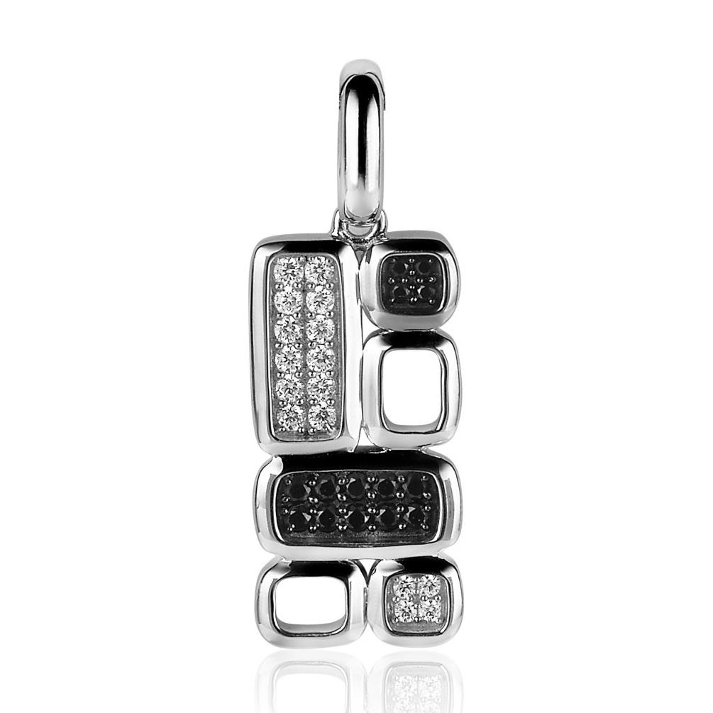 Zinzi by Mart Visser MVH3Z Hanger zilver zwart-wit 25 x 12 mm