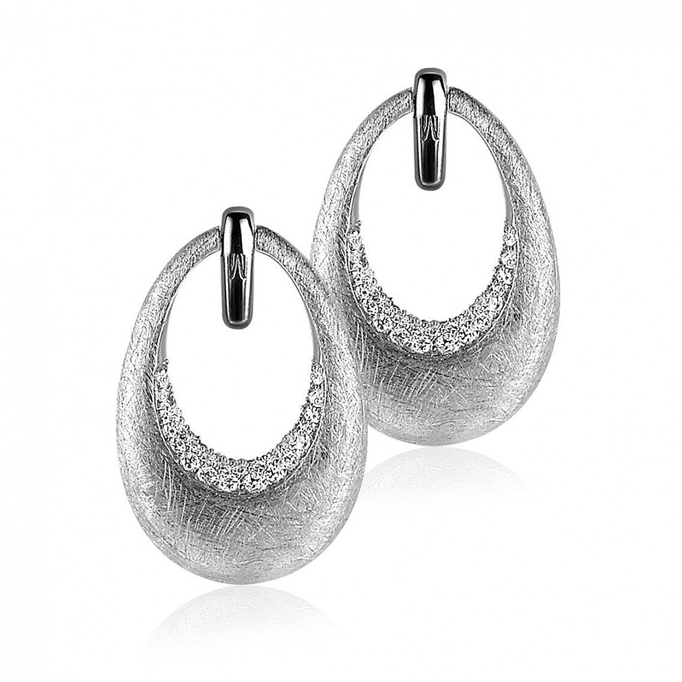 Zinzi by Mart Visser MVO10 Oorbellen Ovaal tweezijdig zilver met zirconia
