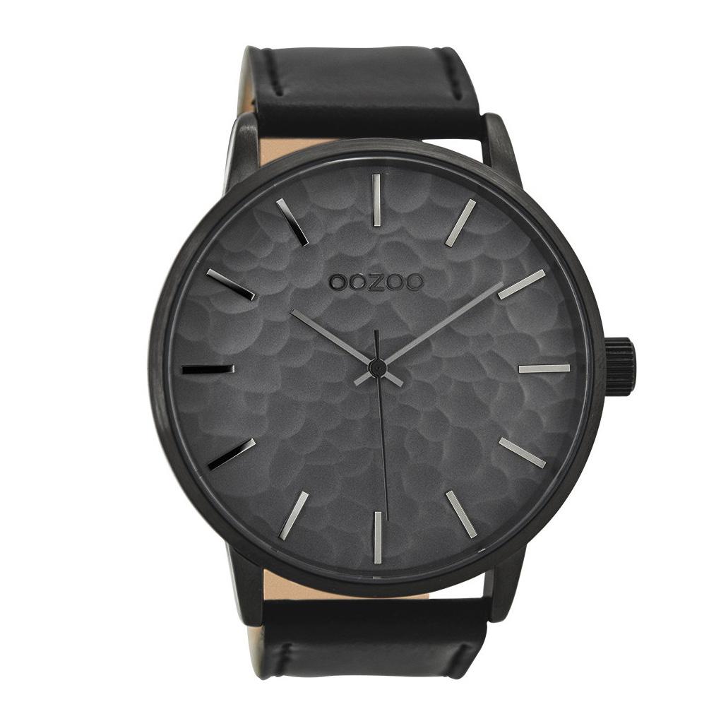 OOZOO Horloge Timepieces Collection staal/leder zilverkleurig-zwart C9444