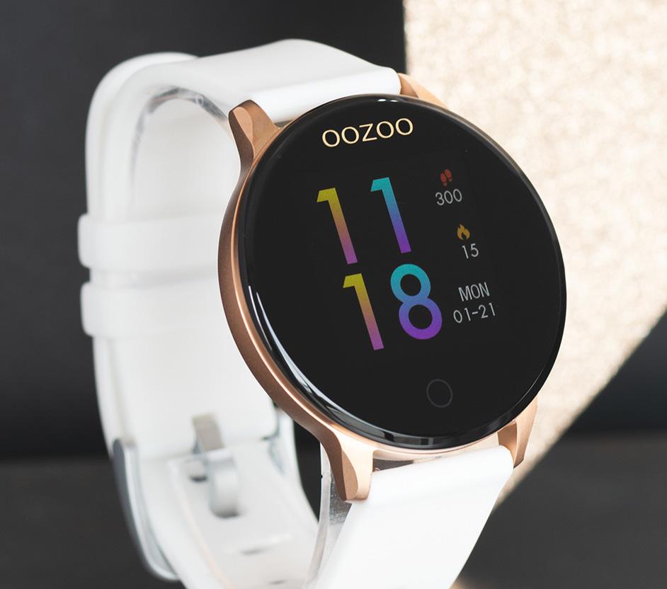 OOZOO Smartwatch Q00111 staal/rubber rosekleurig-zwart-wit Hartslagmeter 43 mm
