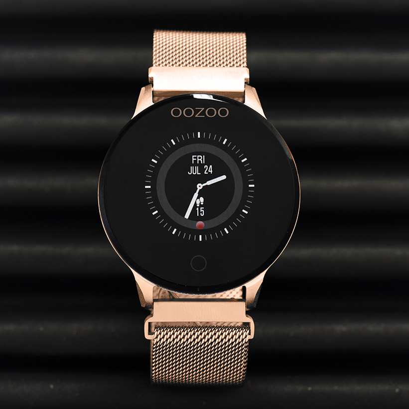 OOZOO Smartwatch Q00117 Mesh staal rosekleurig-zwart Hartslagmeter 43 mm