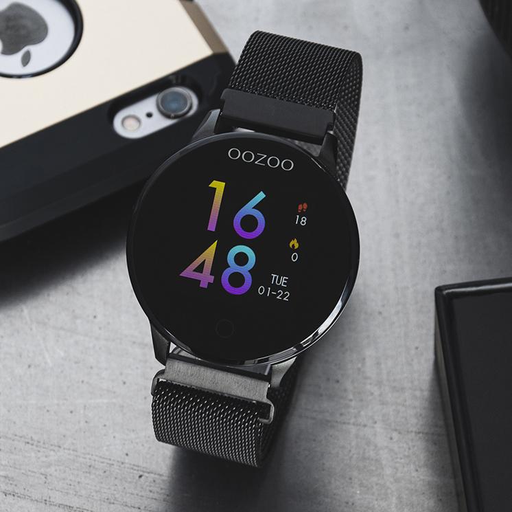 OOZOO Smartwatch Q00119 Mesh staal zwart hartslagmeter 43 mm