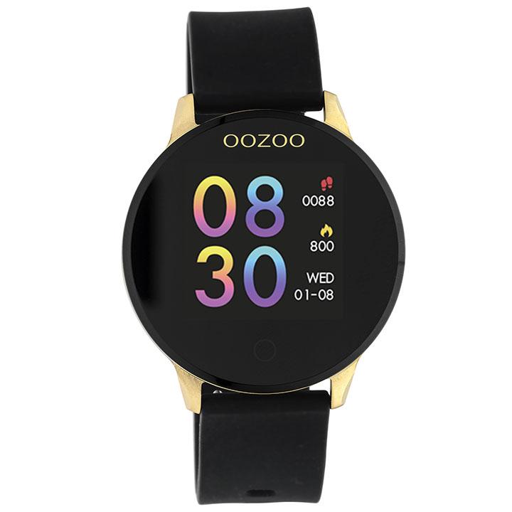 OOZOO Smartwatch Q00120 staal siliconen goudkleurig zwart 43 mm