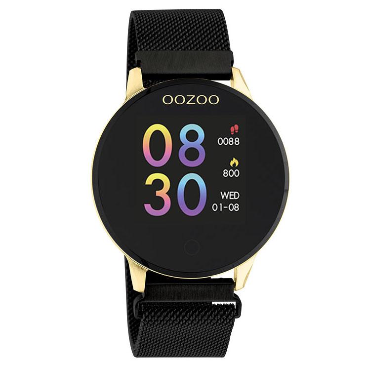 OOZOO Smartwatch Q00122 Mesh staal goudkleurig zwart 43 mm