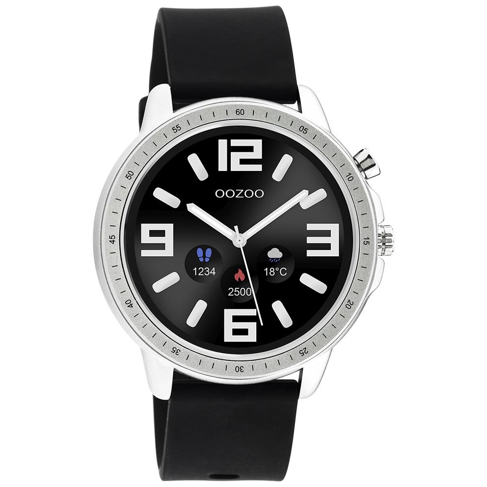 OOZOO Q00300 Smartwatch Staal-Rubber zilverkleurig-zwart 45 mm