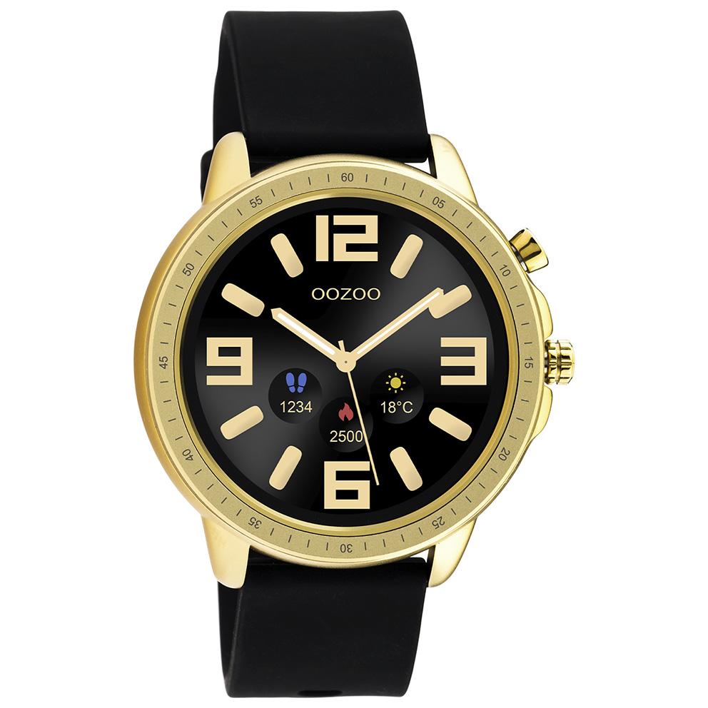 OOZOO Q00301 Smartwatch Staal Rubber goudkleurig zwart 45 mm