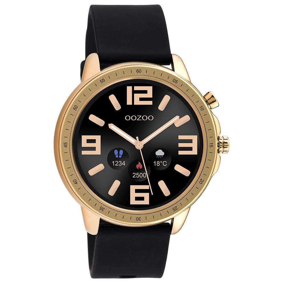 OOZOO Q00303 Smartwatch Staal-Rubber rosekleurig-zwart 45 mm