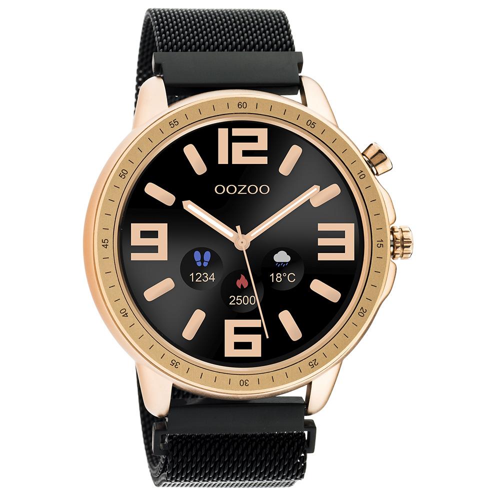 OOZOO Q00308 Smartwatch Mesh Staal zwart rosekleurig 45 mm