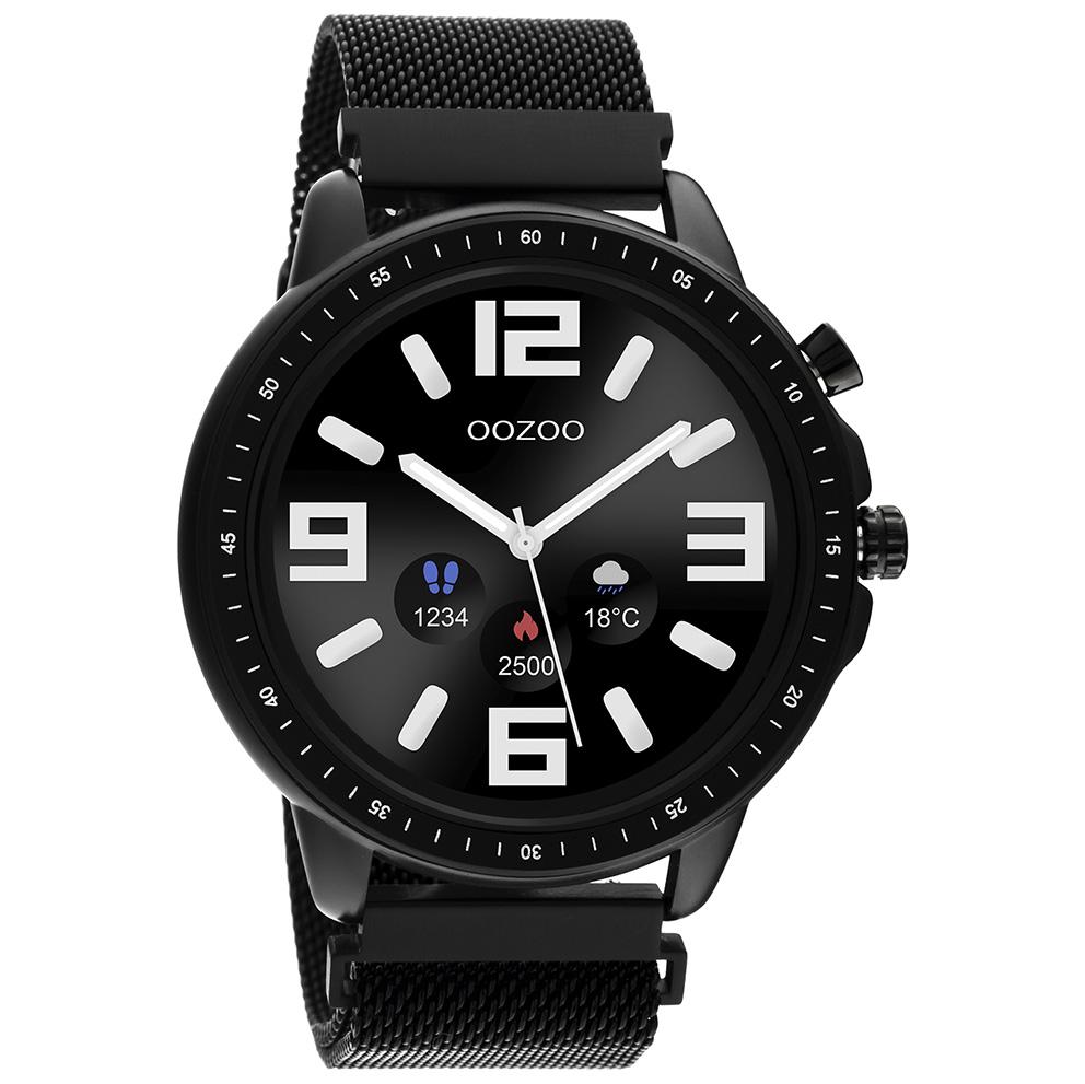 OOZOO Q00309 Smartwatch Mesh Staal zwart 45 mm