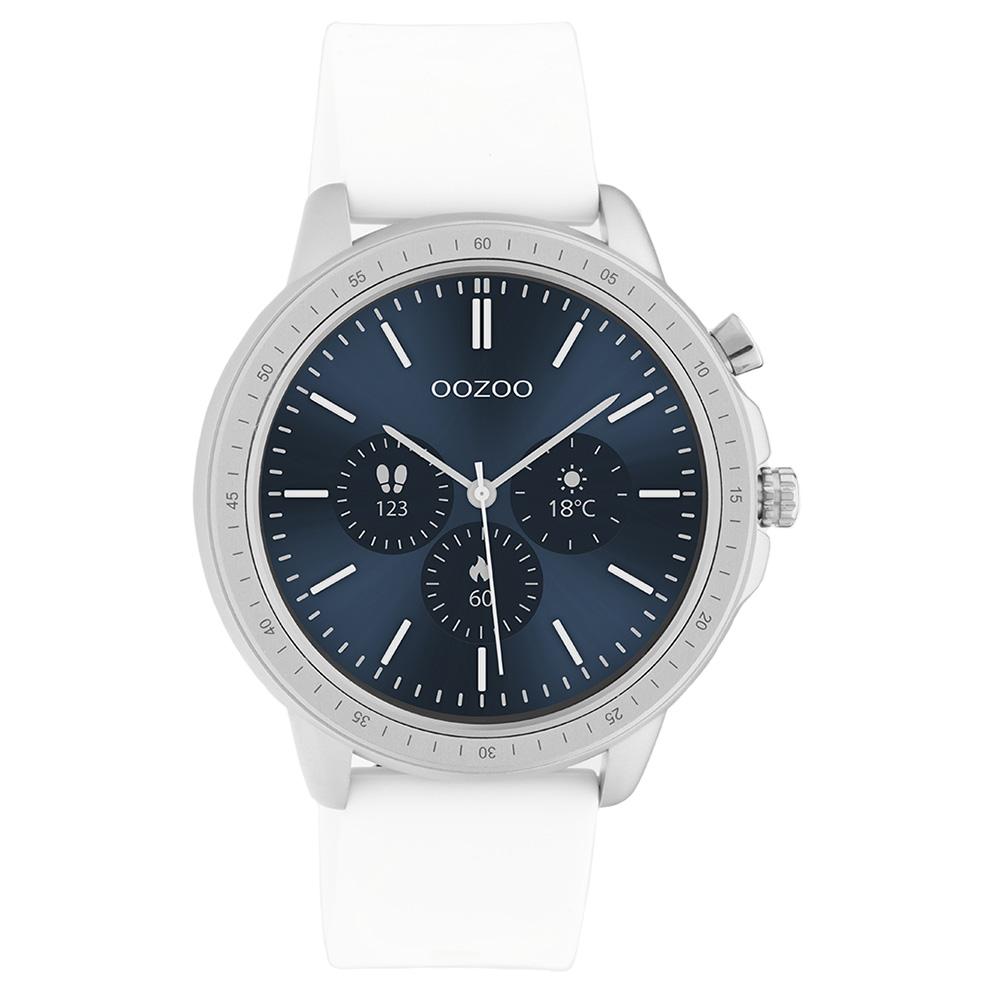 OOZOO Q00310 Smartwatch staal rubber zilverkleurig wit 45 mm