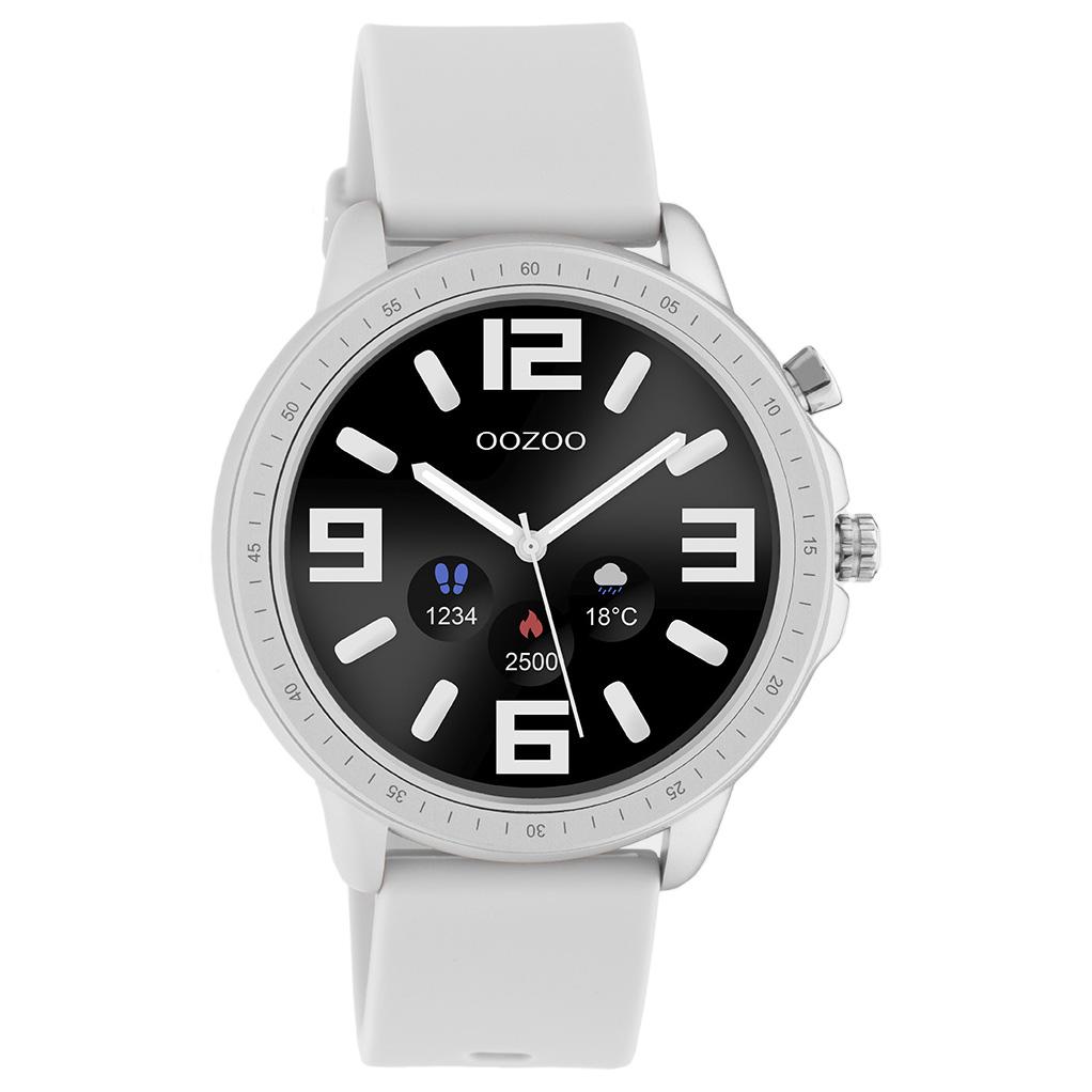 OOZOO Q00311 Smartwatch staal rubber zilverkleurig steengrijs 45 mm