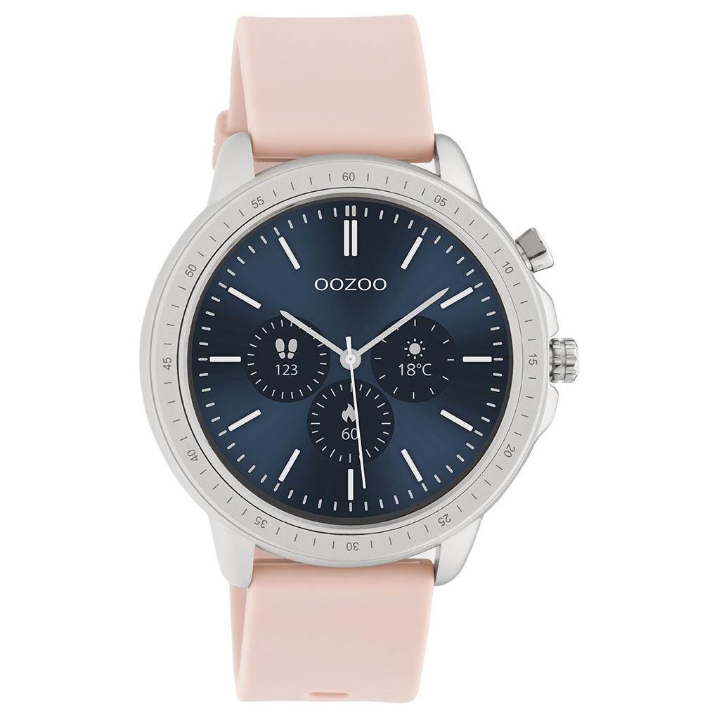 OOZOO Q00312 Smartwatch staal rubber zilverkleurig rozegrijs 45 mm