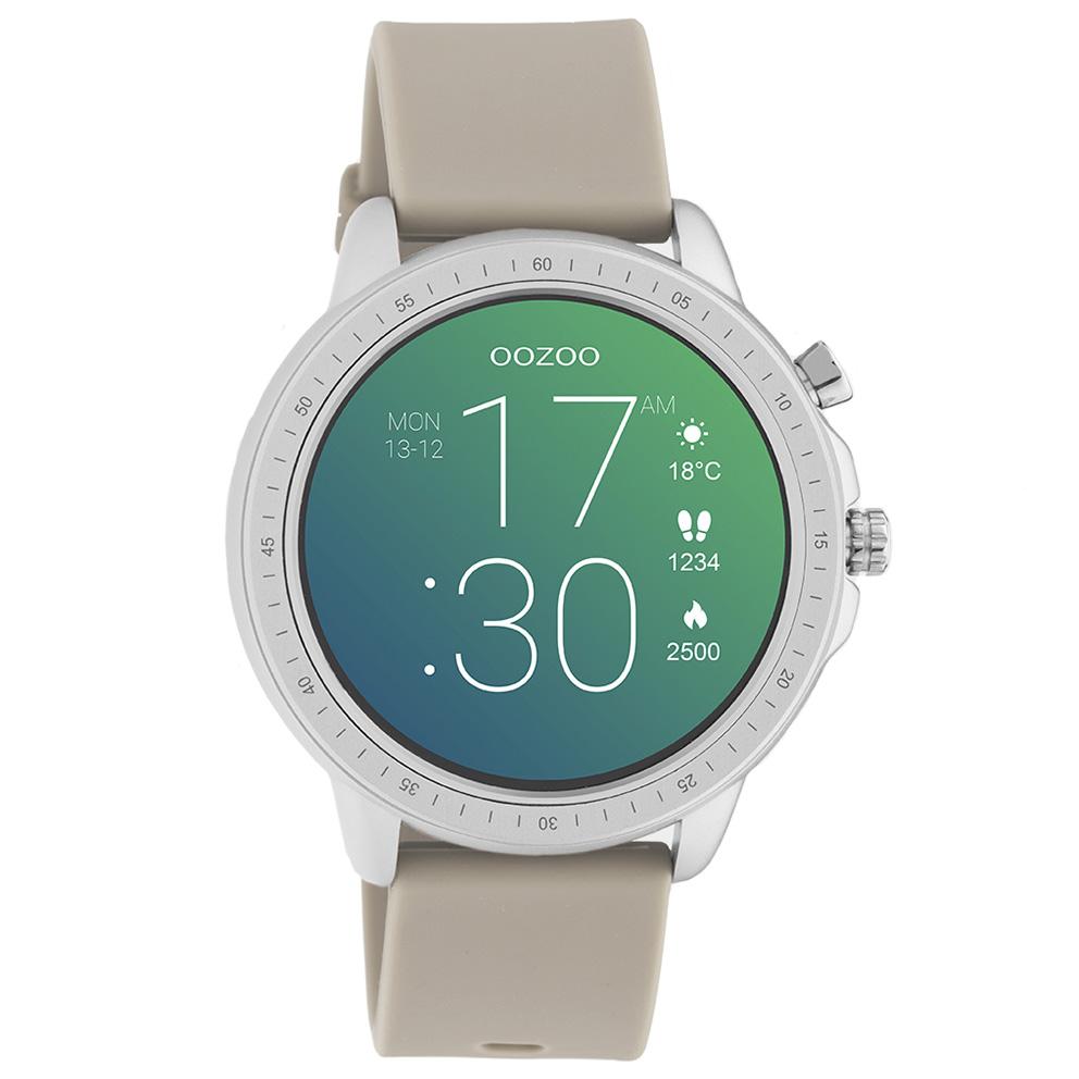 OOZOO Q00313 Smartwatch staal rubber zilverkleurig taupe 45 mm
