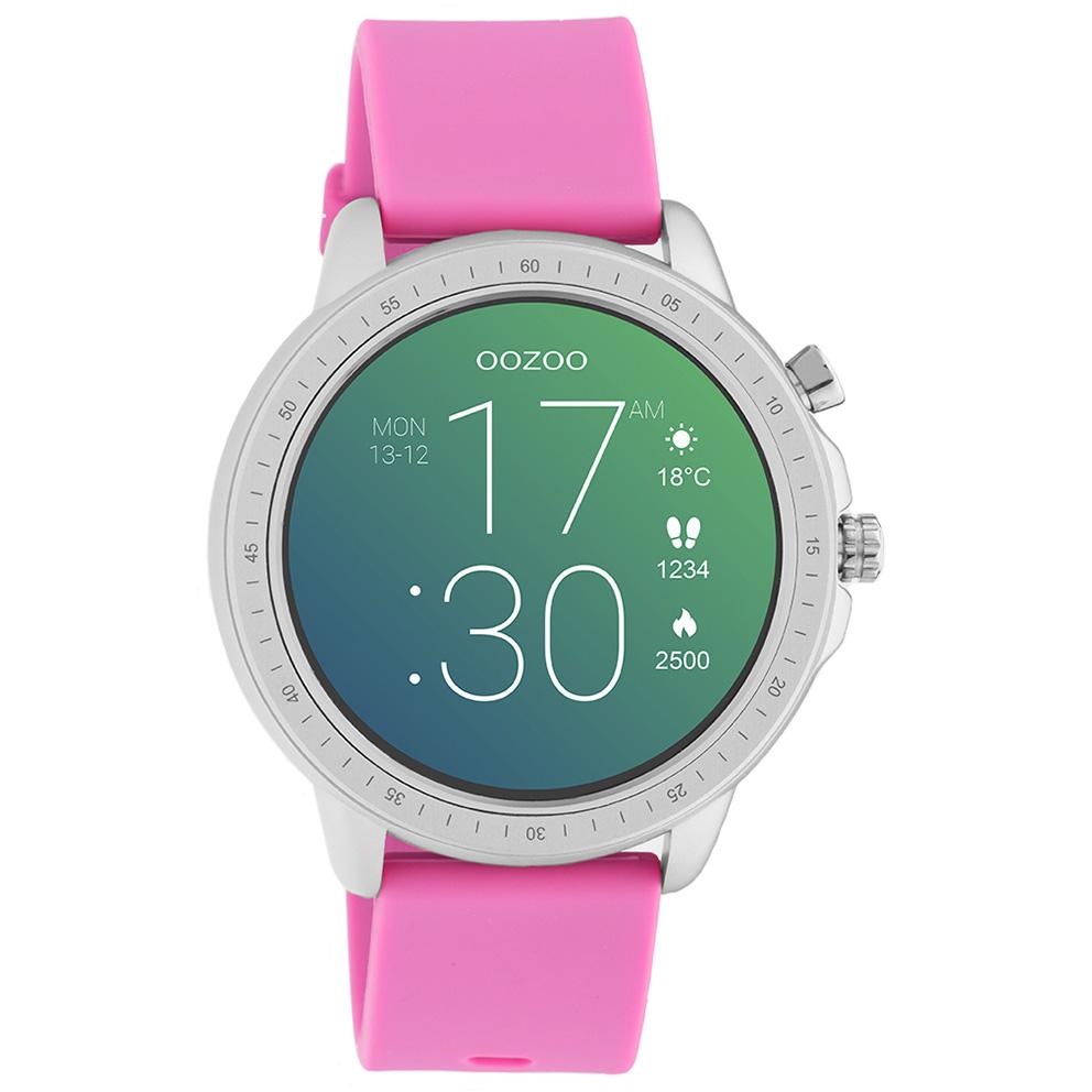 OOZOO Q00314 Smartwatch staal rubber zilverkleurig raspberry roze 45 mm