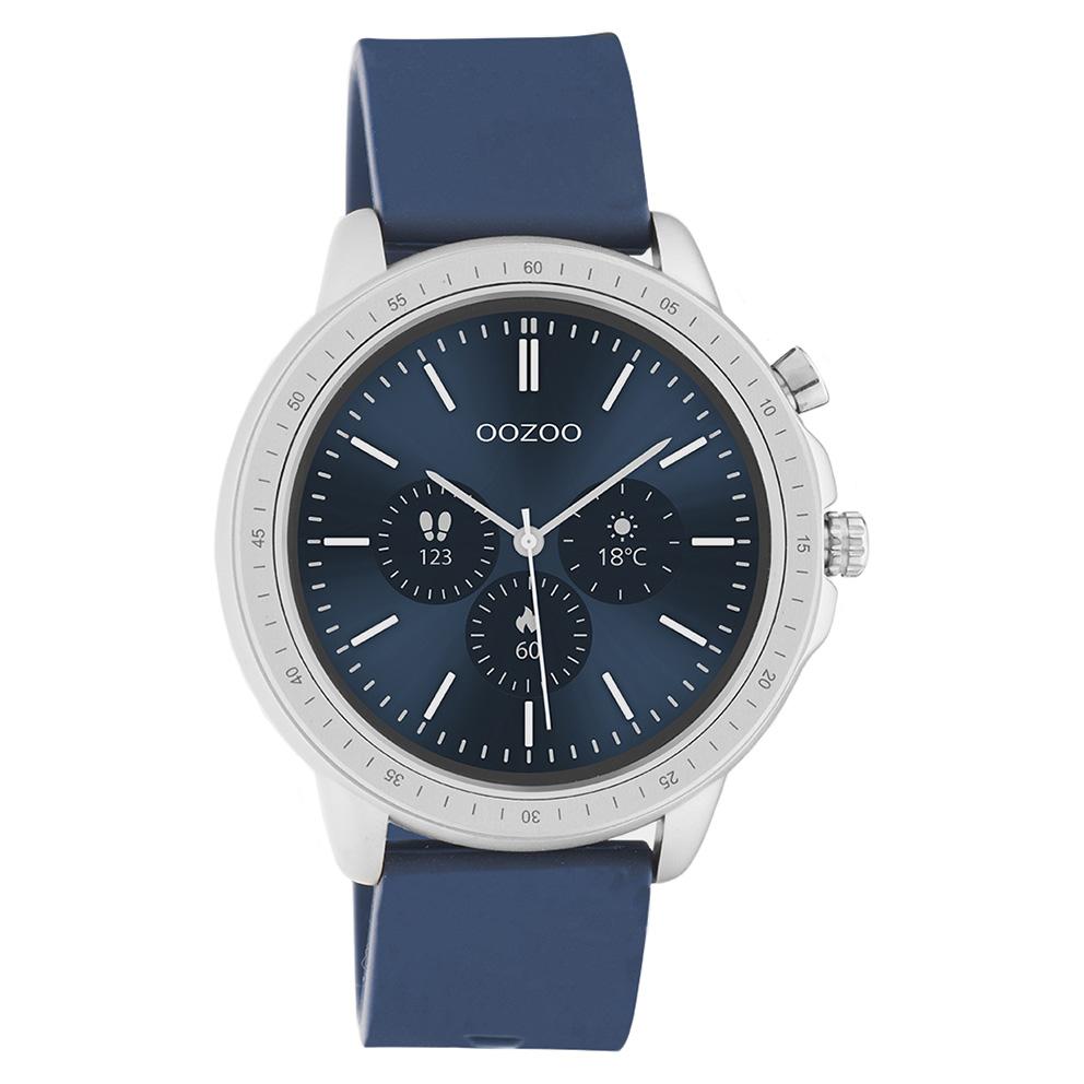 OOZOO Q00315 Smartwatch staal rubber zilverkleurig donkerblauw 45 mm