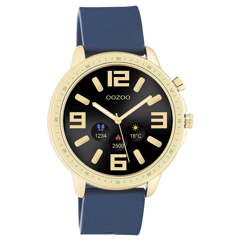 OOZOO Q00321 Smartwatch staal rubber goudkleurig donkerblauw 45 mm